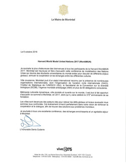 WorldMUN2017 | LETTERS OF SUPPORT | Mayor of Montréal Denis Coderre