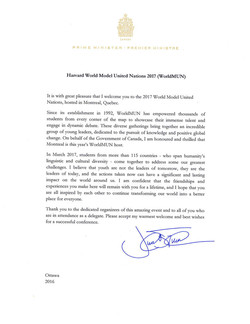 WorldMUN2017 | LETTERS OF SUPPORT | Prime Minister of Canada Justin Trudeau
