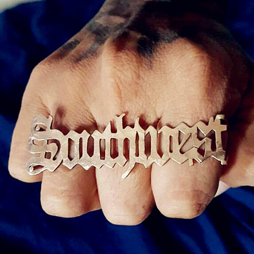 Customized old English letter mens hiphop jewelry personalized big nameplate finger rings