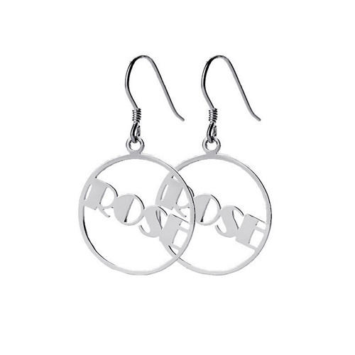 Big circle personalized earrings hoops with your names in silver   wholesale