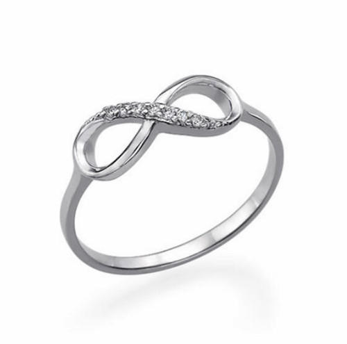 Custom infinity ring with name and diamonds infinity ring with names and CZ rings