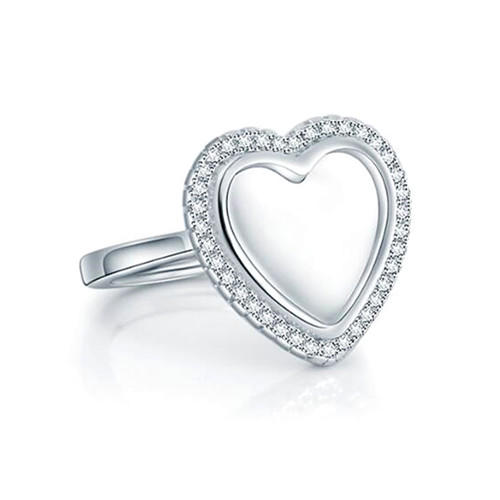 Customized heart shaped diamonds open ring with your image or photograph adjustable CZ name ring