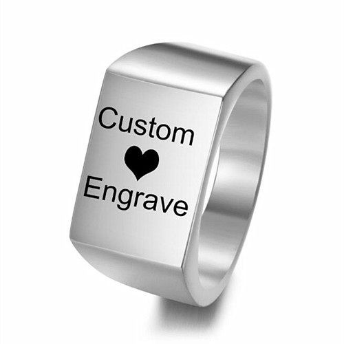 Wholesale customized mens jewellery name text words logo pattern engraving rings