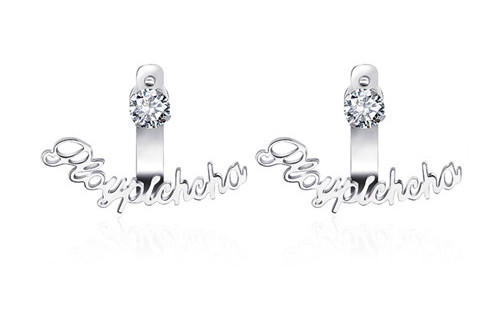 Custom made any name plate earrings with CZ diamond ear stud stylish women fashion jewelry wholesale