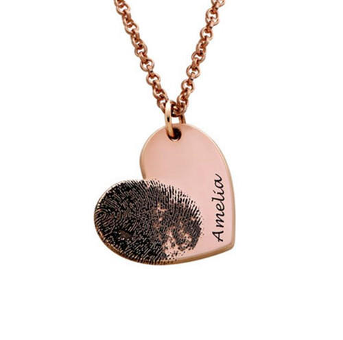 Wholesale personalized actual fingerprint necklace name engraved footprint handwriting jewelry in sterling silver