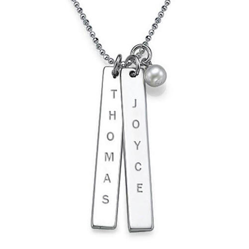 Personalized 2 vertical names bar necklace with pearl in sterling silver mother's day gift for her