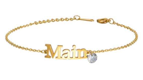Personalized birthstone jewelry adjustable nameplate bracelet or anklet in gold plating