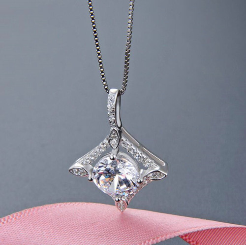 Round and princess cut diamond necklace in sterling silver wholesale body jewelry suppliers china