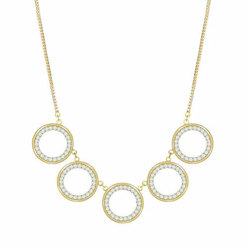 Gold plated delicate multi 5 circles  charm necklace women fashion fine jewellery OEM ODM