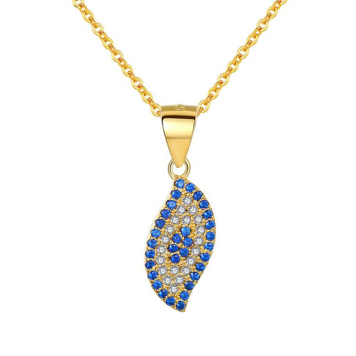 Blue and white zircon jewellery gold plated leaf pendant necklace in 925 sterling silver