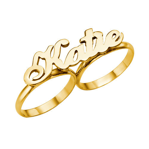 Sterling silver two finger name ring personalized 2 finger name rings custom name rings two finger women jewelry gold plated