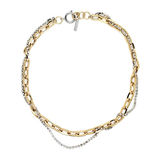 Classic design two-tone fashion brass jewellery double layered chain choker necklace