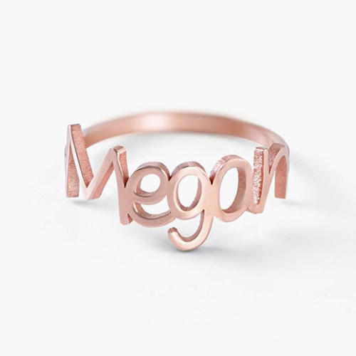 Personalized couple rings in rose gold plating custom design engagement ring wedding jewelry