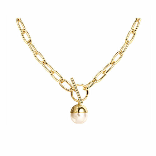 Women fine jewelry chunky chain pearl pendant necklace in 14K gold plating