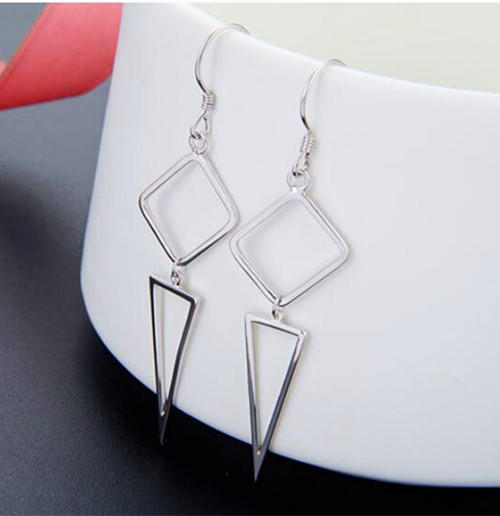 Sterling silver triangle earrings hoop for women fashion jewels wholesale