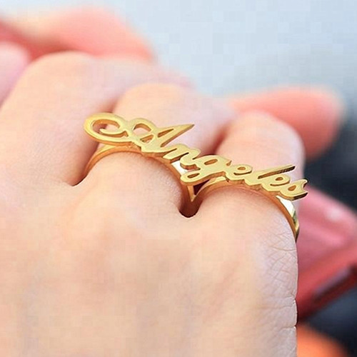 Two fingers rings wholesale personalised fashion gold nameplate rings for women
