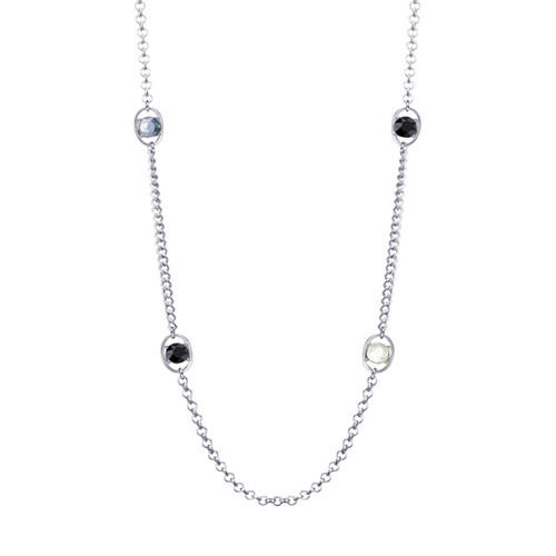 Long simple zircon charm link chain necklace for women fashion jewellery wholesale