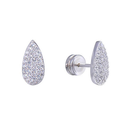 Sterling silver CZ teardrop earrings studs diamond cubic zirconia stud earrings fashion jewelry earrings wholesale