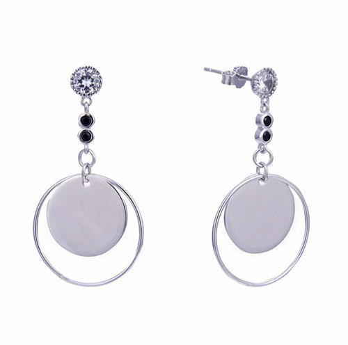 Women stud earrings multilayer double circles charms fashion earring silver jewelry wholesale