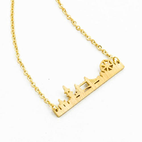 personalized ciry buildings landscape jewelry supplier customized necklace in gold plating
