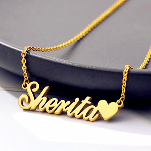 18k gold plating personalise jewellery heart name pendant necklace for women