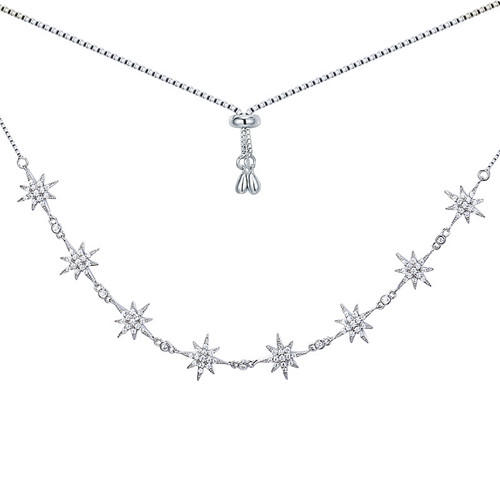 Women luxury fine jewelry 925 silver star charms diamonds necklace