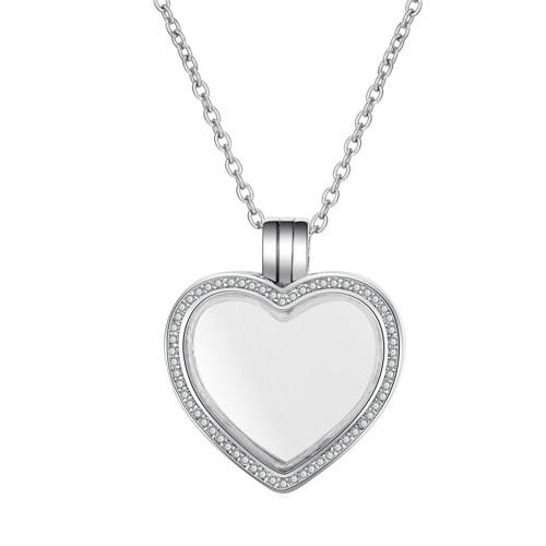 Heart shaped three loops personalized floating locket necklace with diamonds supplier DIY photo jewelry making manufacturer
