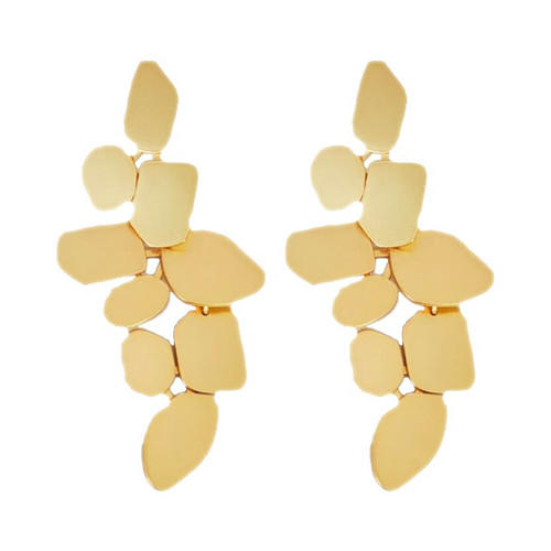 Big fashion brass jewelry gold plating elegant geometric shape drop earrings