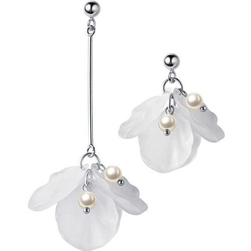 Long drop white flower petals and pearl 925 sterling silver earrings for women wholesale