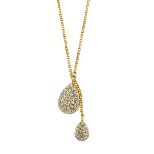 5A zircon diamond waterdrop pendant 18K gold color necklace in 925 silver