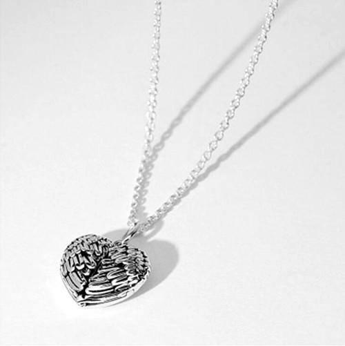 Angel wing love heart photo necklace Sterling silver photo engraved jewelry locket
