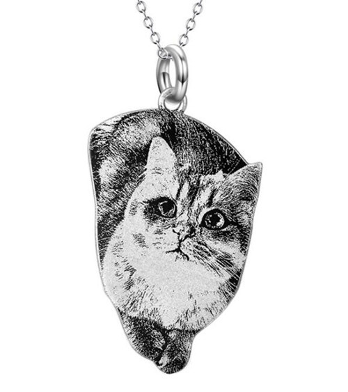 Pet memorial gifts dog necklace personalised Sterling silver custom cat portrait necklace
