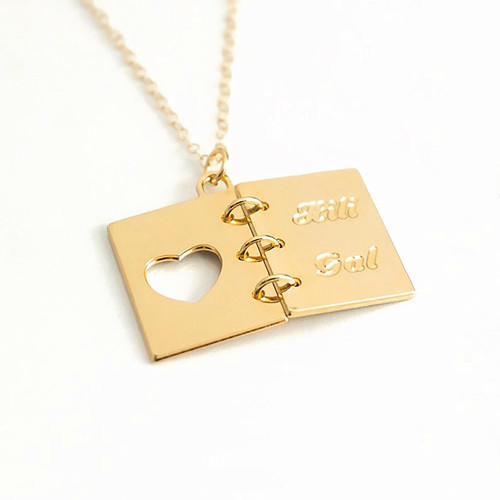 Personalized book lover gift 925 silver open book themed jewelry love heart engraved book charm necklace in 18k gold plating