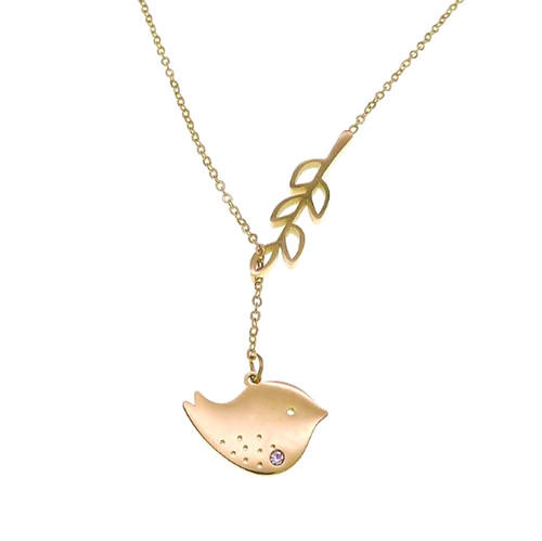 High end stainless steel fine jewels champagne color olive branch and peace dove pendant necklace