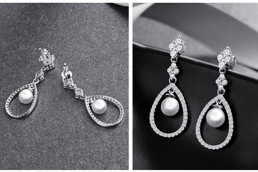 Cubic zirconia diamond teardrop earrings in silver wholesale