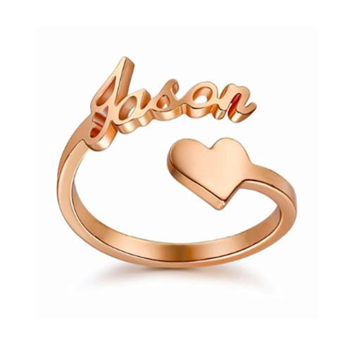 Custom made personalized name rings spiral open ring Arabic name plate ring initial name rings with heart women jewelry rose gold plated