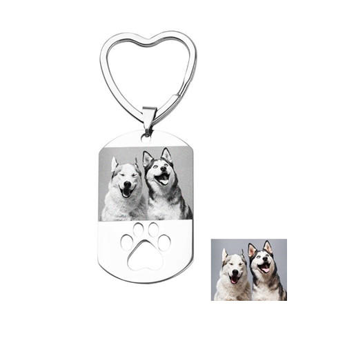 Customized animal photo accessory dog and paw engrving key chains stainless steel tags wholesale
