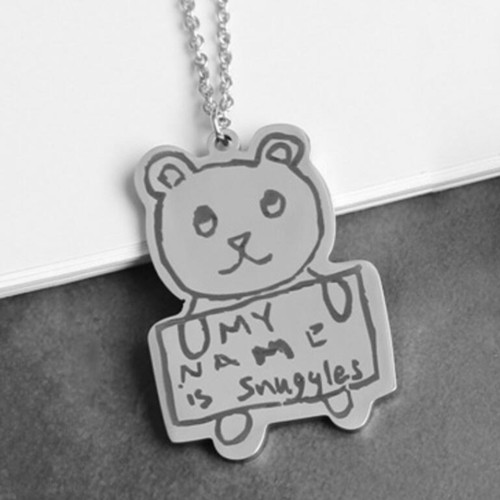 Wholesale customized 925 silver art jewelry personalized colorful drawing necklace in bulk