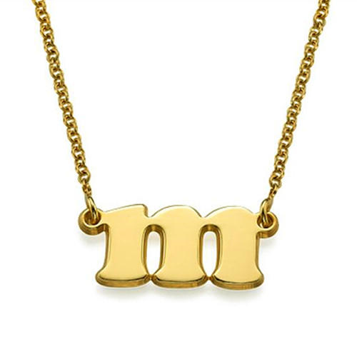 Personalized initial necklace with gold plating  china silver jewelry manufacturer