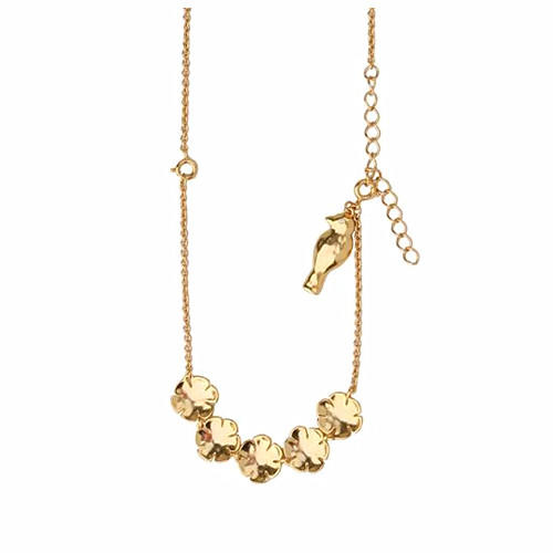 Gold plated bird and flowers necklace 2 in 1 adjustable petal bracelet for women