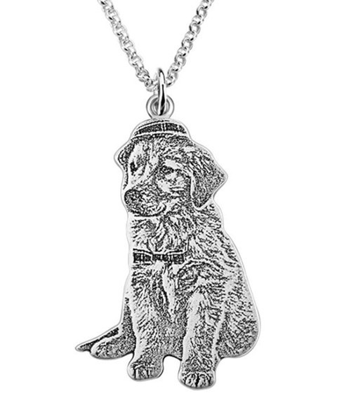 Custom pet portrait photo necklace silver Personalized gifts your pet photo necklace