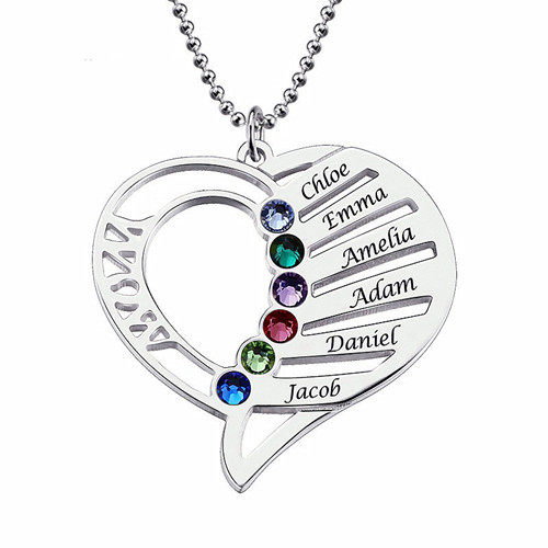 Sterling silver letter heart pendant personalised family names engraved necklace with birthstones mother jewellery
