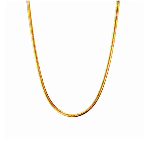 Unisex long gold plated stainless steel snake chain necklace for men and women