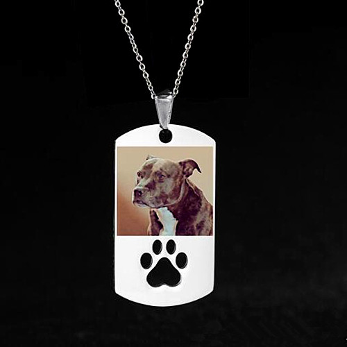 Wholesale full color printing photo jewelry custom dogtag picture engraving necklaces