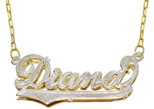 Custom made any name jewellery 925 sterling silver diamond-cut nameplate pendant personalized necklace in gold plating