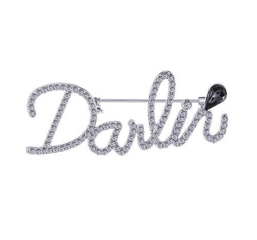 Fine personalized jewelry wholesale custom made signature nameplate brooch diamond accent cursive lowercase breastpin