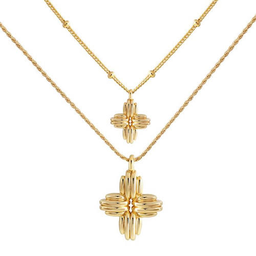 Gold plated bead chain 925 silver flower pendant layered necklace