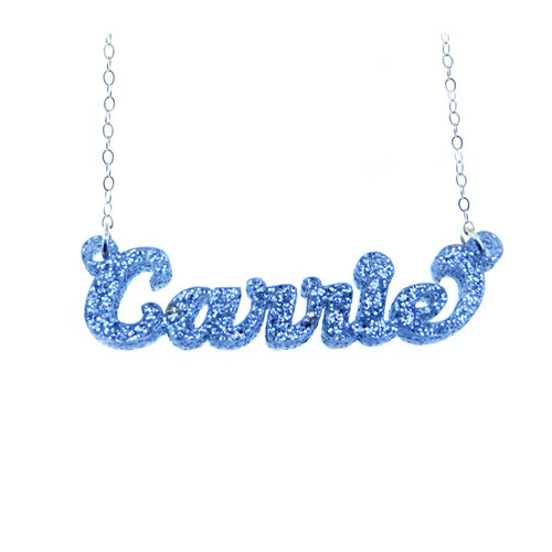 Trendy women fashion jewelry custom acrylic glittering name necklaces