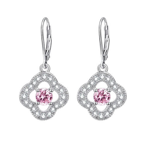 Latest collection fashion women accessories 925 solid sterling silver drop earrings pink crystal CZ flower earrings