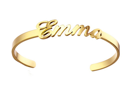 Personalized 925 sterling silver monogram bangle cuff bracelet custom handcrafted gold color name monogram engraved jewellery